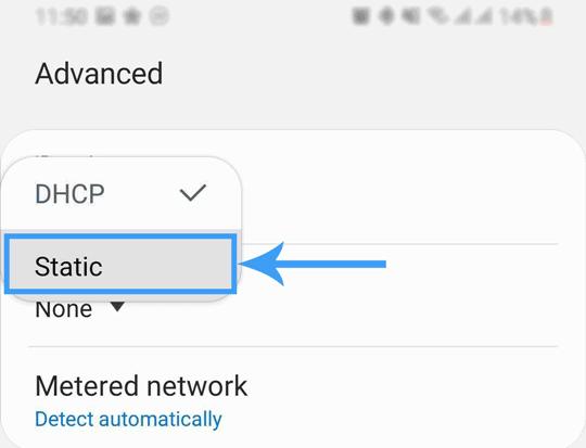 androide wifi statische Netzwerkoption
