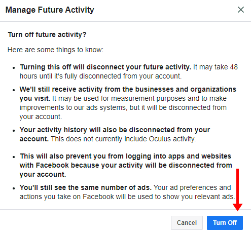 turn off  Future Off-Facebook Activity confirmation