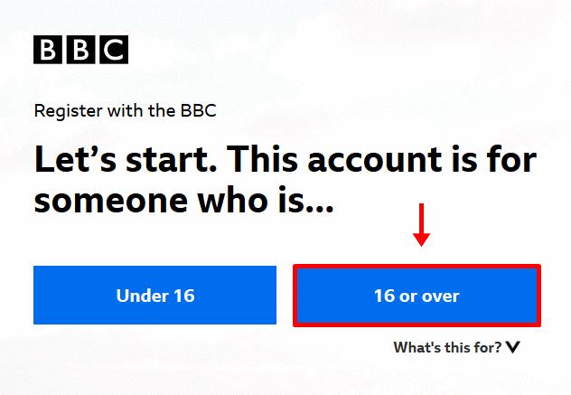 BBC registration age limit