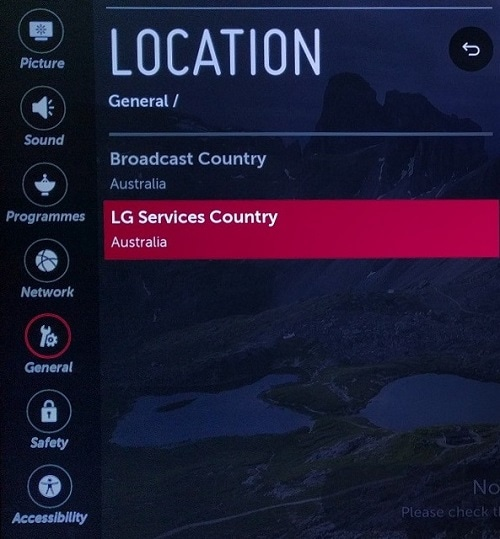 lg tv services country