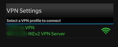 BlackBerry VPN conectado