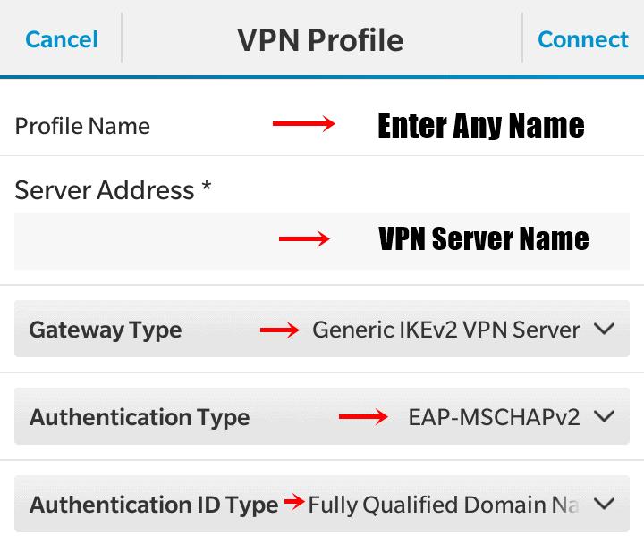 BlackBerry VPN settings