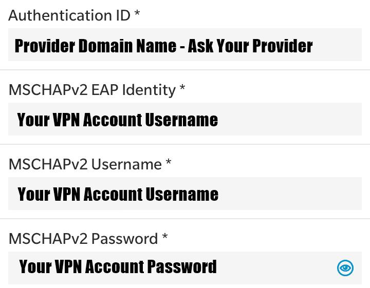 BlackBerry entrar VPN detalles de la cuenta
