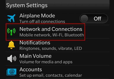 BlackBerry red y conexiones