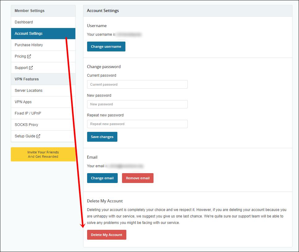 hide.me VPN deletar conta