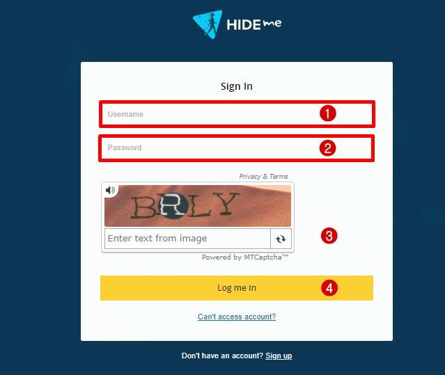 página de login hide.me