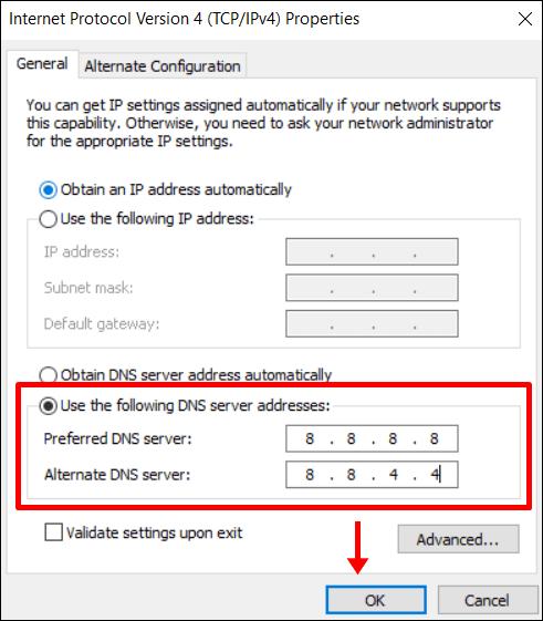 Windows 10 Digite google dns