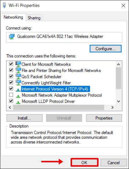 Windows 10 salvar configurações de DNS do Google