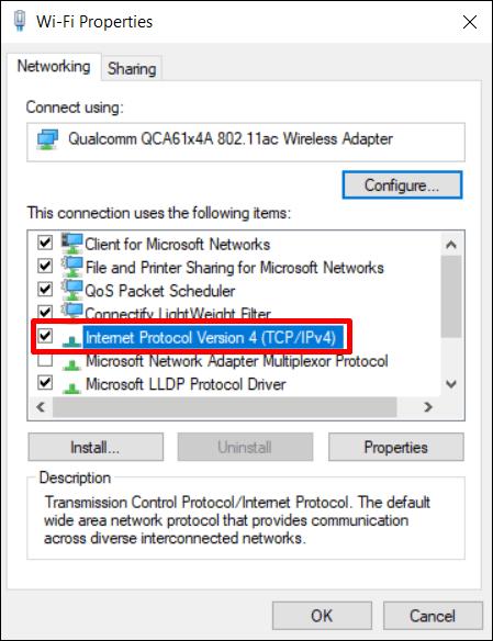 Windows 10 configurações TCP / IPv4
