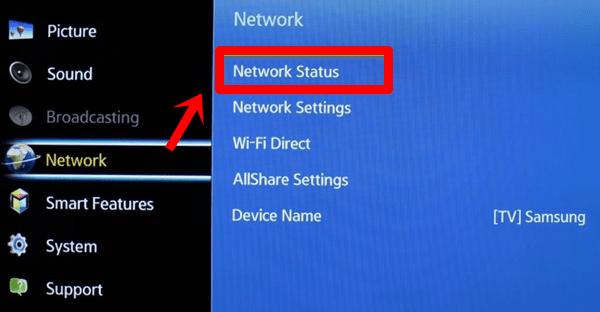 Samsung tv-netwerkstatus