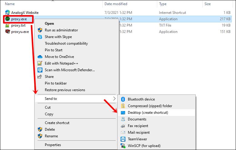 AnalogX Proxy Cartella di installazione del server