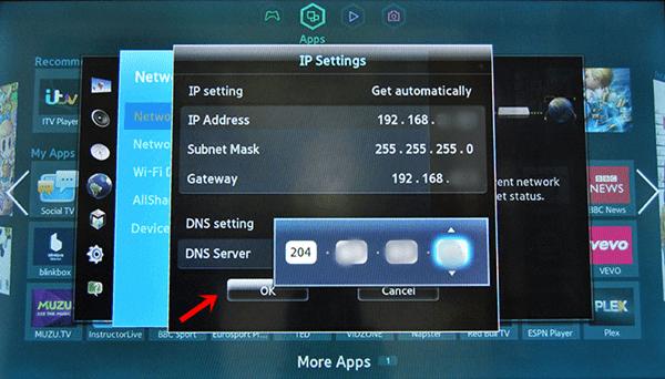 samsung tv voer dns-server in