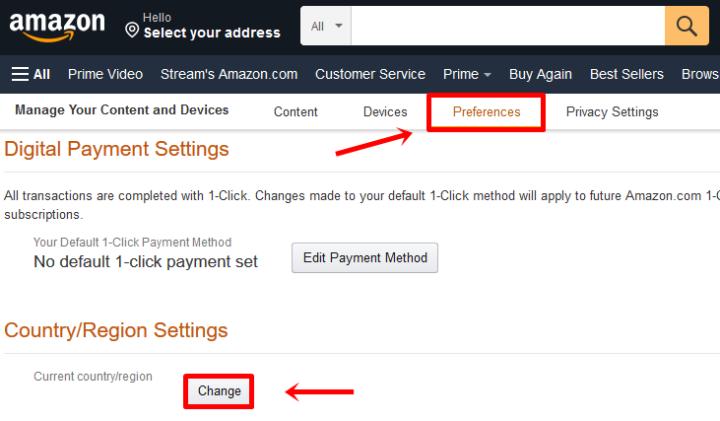 Wie ändere ich mein Land bei Amazon? Stream Telly