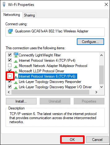 인터넷 프로토콜 버전 6 (TCP / IPv6) 비활성화