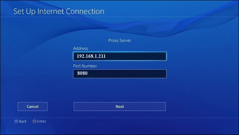 PlayStation proxy サーバー設定