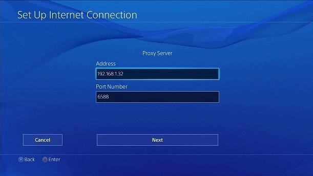 Playstation proxy adres serwera