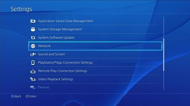 Playstation menu sieciowe