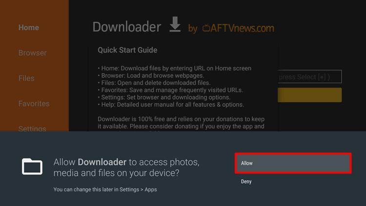 Erlaube Downloader App Erlaubnis auf Android TV