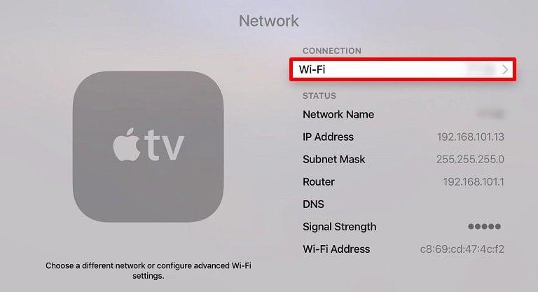 Apple TV wifi pengaturan