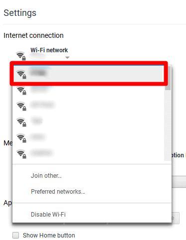 edit koneksi jaringan aktif ChromeBook
