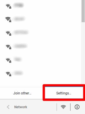 Chromepesan pengaturan jaringan