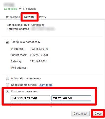 menambahkan smart dns server aktif ChromeBook