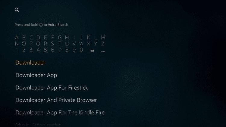 zoek downloader-app op Fire TV Stick