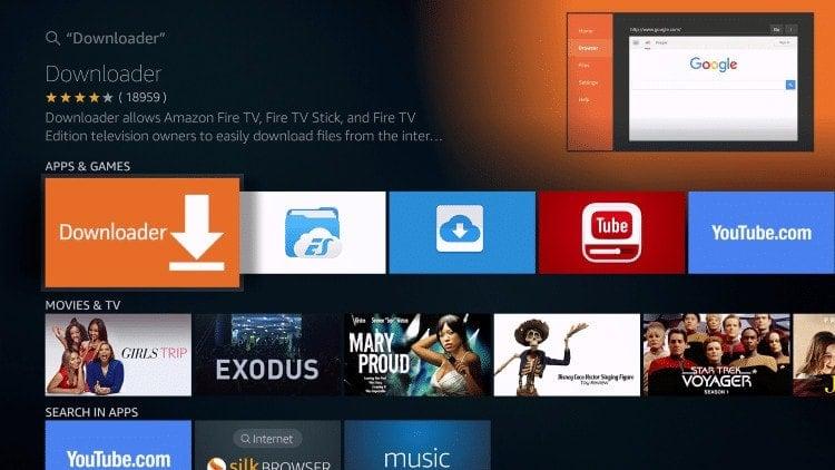 selecteer de downloader-app op Fire TV Stick