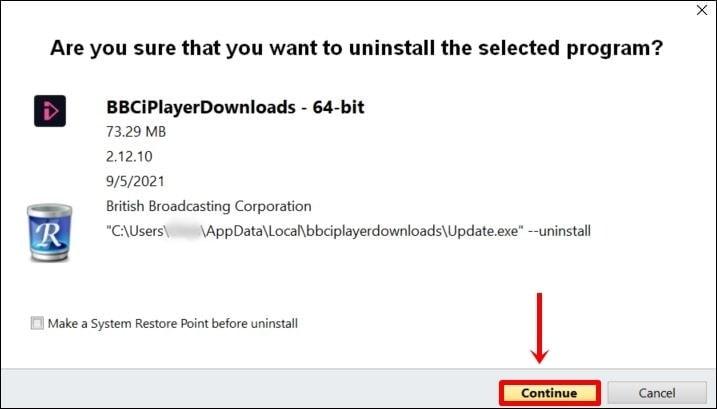 bevestiging om bbc iplayer downloads te verwijderen