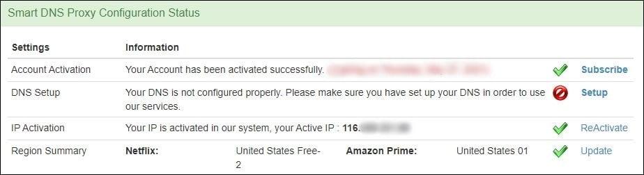 smart dns proxy account attivato