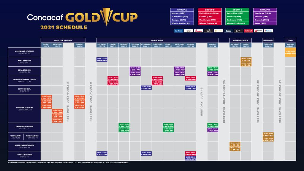 CONCACAF Gold Cup Horario de 2021