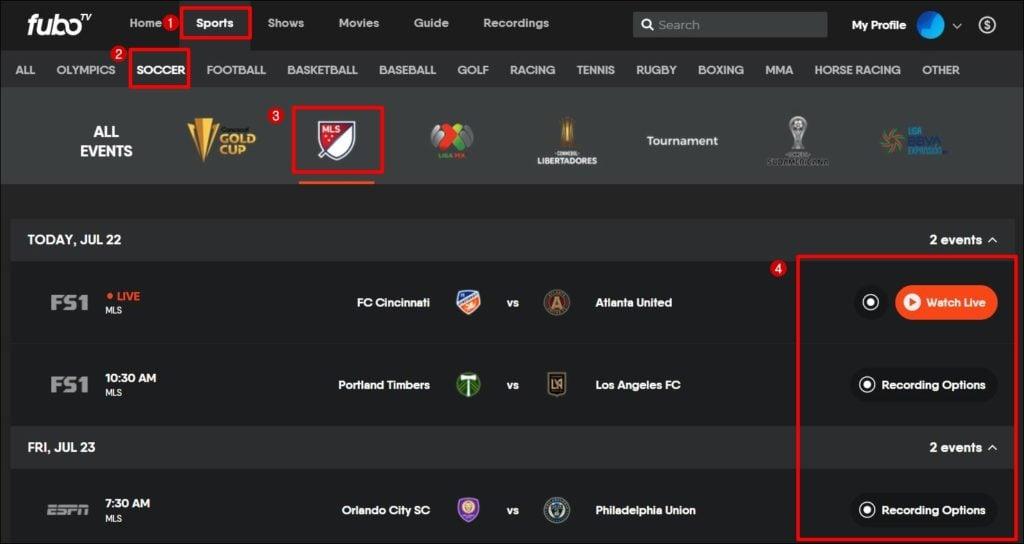 MLS смотрите в прямом эфире fubotv